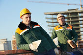 Construction mason worker bricklayers — Stock Photo