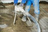 Floor cement covering plastering work — Stock Photo