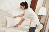 Chambermaid woman at hotel service — Stock Photo