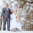 Young wedding Caucasian Russian couple walking on snowy park. Winter season in Russia — Stock Photo #10950078