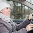 Woman in winter clothes driving a car — Stock Photo #12200229