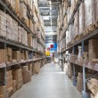 Warehouse storage of retail merchandise shop. — Stock Photo
