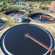 Stock Photo: Huge circular sedimentation tank Water settling, purification in water station
