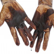 Oil in dirty hands isolated — Stock Photo #13260590