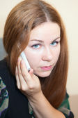 Young one Caucasian woman speaking on mobile phone — Stock Photo