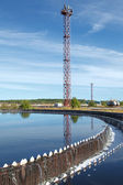 Blue sky reflection in sedimentation settler on treatment plant — Foto Stock