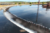 Industrial round sedimentation reservoir for water treatment — Stock Photo