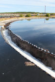 Industrial round sedimentation reservoir for water treatment — Stock fotografie