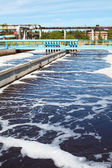 Water treatment tank with waste water with aeration process — Stock Photo