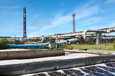 Sewage treatment plant in summer sunny day — Stock Photo