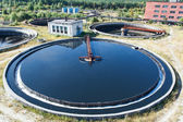 Top view on round form water treatment primary radial settler — Stock Photo