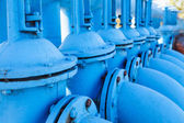 Line from blue vents of oxigen gate valves — Stock Photo