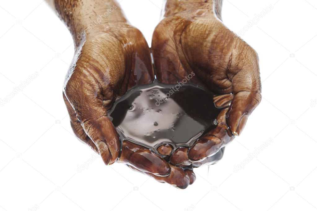 Oil in hands on white background  Stock Photo #13260595