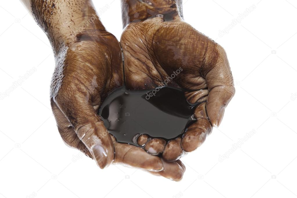 Oil in hands on white background — Stock fotografie #13260607