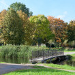 Stock Photo: Old footbridge across river in autumn park. Nobody