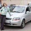 Stock Photo: Happy womstanding in front of own car