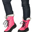Female legs in pink winter shoes — Stock Photo #1584495