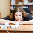 Executive business woman waiting telephone calls in office — Foto Stock
