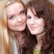 Two Caucasian young women standing cheek to cheek. Close up of faces — Stock Photo