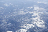 Snowcovered mountain range, Japan. Aerial view — Stock Photo