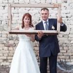 Framed Happy Wedding Couple — Stock Photo