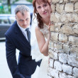 Wedding portrait of just married young couple of groom and bride — Stock Photo #29473765
