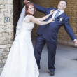 Wedding portrait of just married young couple of groom and bride — Stock Photo
