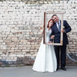 Framed Happy Wedding Couple — Stock Photo
