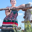 Country girl in sundress — Stock fotografie