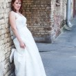 Wedding portrait of just married young bride — Stock Photo
