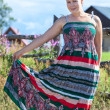 Country girl in sundress — Stock Photo