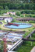 Round settlers in water treatment plant — Stock Photo
