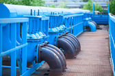 Blue gas pipelines — Stock Photo