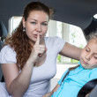 Mother showing shh gesture — Stock Photo #35157399