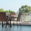 Chairs and table at luxury hotel yard — Stock Photo