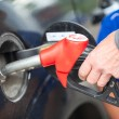 Closeup view of hand of driver inserting pumping nozzle with gasoline at the gas station — Stock Photo #35157715