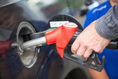 Closeup view of hand of driver inserting pumping nozzle with gasoline at the gas station — Stock Photo
