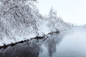 Winter landscape with lake — Stock Photo