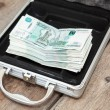 Stock Photo: Steel case with cash