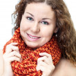 Attractive young woman with neck scarf — Stock Photo