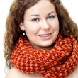 Woman with naked torso in neck scarf — Stock Photo