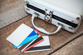 Steel case with classic credit cards — Foto Stock