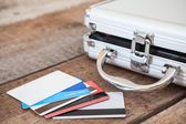 Credit cards and credit cards on floor — Foto Stock
