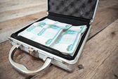 Steel case with Russian cash — Stock Photo