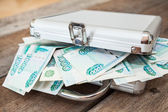 Steel case with Russian rubles inside — Stock Photo