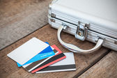 Steel case and credit cards — Stock Photo