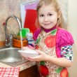 Pretty girl in the kitchen — Stock Photo