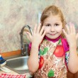 Girl shows hands — Stock Photo