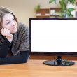 Girl near monitor — Stock Photo #40508553