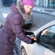 Stock Photo: Womin winter clothes cleaning car windows and mirrors